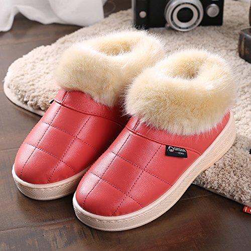 Y-Hui invierno zapatillas de algodón con bolsa de cuero zapatillas zapatillas al final del invierno, el viejo hombre grueso Zapatos impermeables Watermelon Red