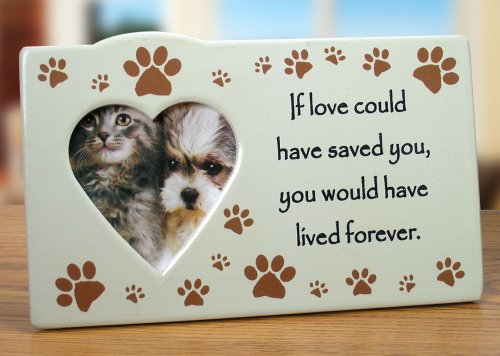 Pet Memorial Picture Frame - If Love Could Have Saved You Saying - Ceramic Frame with Heart Shaped (Ceramic Photo Plaque)