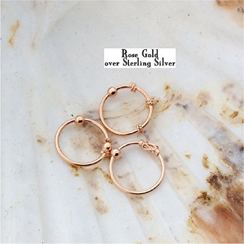 Nose Rings, ROSE gold over Sterling Silver, Set of THREE, Balinese Tribal Style hoop, lip,eyebrow,body piercing
