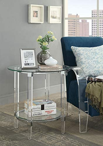 Benjara, Silver and Clear Round Shape Glass and Acrylic End Table with Open Bottom Shelf