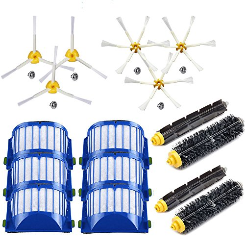 EEEKit Replacement Accessories Kit for iRobot Roomba 600 Series 690 680 660 655 650 & 500 Series 595 585 564 552, 2 Bristle+Flexible Beater Brush, 6 Filter, 3 3-arm Side Brush, 3 6-arm Side Brush (564 Series)
