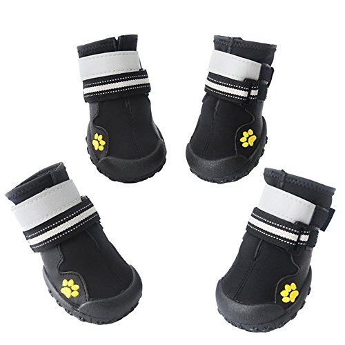 - ASMPET Dog Boots Waterproof Shoes with Reflective Anti-Slip Sole Snow Boots Warm Paw,4pcs (7, Black)