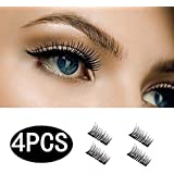 HOBO Dual Magnetic Eyelashes - Ultra Thin Magnetic False 3D Eyelash (4 - piece), Best Reusable and Easy to Apply Ultra Thin Dual Magnet System