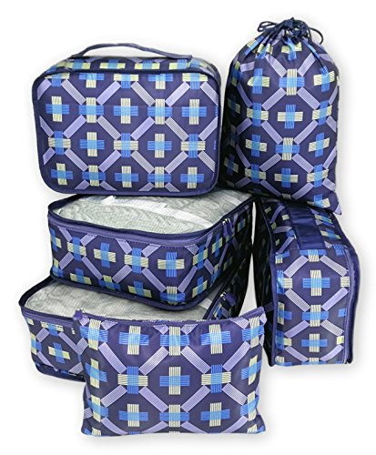 my FL 6pcs Packing Cubes For Carry on Backpack Organizers Set with Shoes Bag Travel Luggage (Blue Geometry)