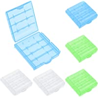 DXLing 6PCS Hard Plastic Batteries Storage Boxes Cell Battery Storage Case Holder Box 3 Colors Plastic Battery Storage…