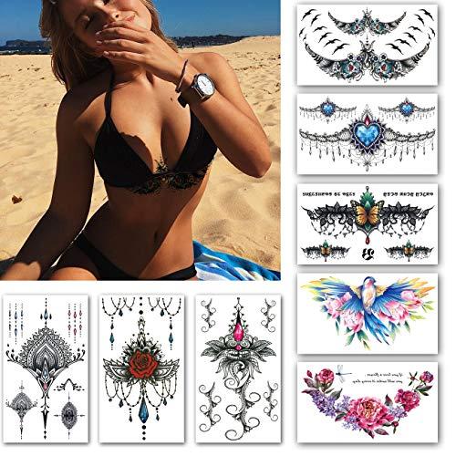 Leoars Large Chest Temporary Tattoo Sticker, Mandala Back Waist Breast Underboob Fake Tattoo Sticker, Sexy Body Makeup Fake Tattoos for Women Lady, 8-Sheet