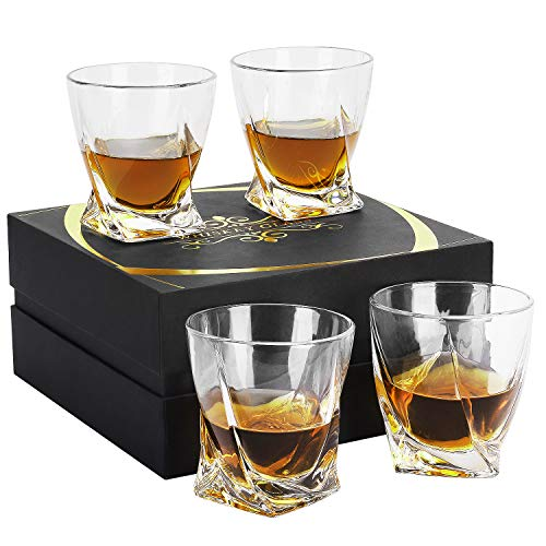 Whiskey Glasses – YUOIOYU Old Fashioned Whiskey Glasses Set of 4, Crystal Rocks Glasses with Luxury Gift Box, 10 Oz…