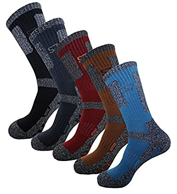 5pack Men's Bio Climbing DryCool Cushion Hiking/Performance Crew Socks