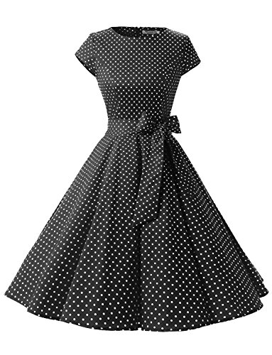 - Dressystar DS1956 Women Vintage 1950s Retro Rockabilly Prom Dresses Cap-Sleeve M Black White Dot A