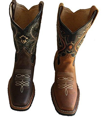 Botas De Vaquero De Los Hombres Cuero De Vaca Genuino Llano Punta Cuadrada Rodeo Occidental Botas_moca