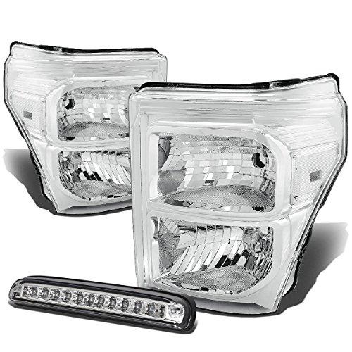 For Ford Super Duty 3rd Gen Pair of Chrome Housing Clear Corner Headlight+LED 3rd Brake Light w/o Cargo Light