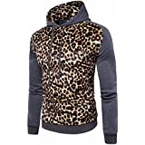 ღ Ninasill ღ Mens Autumn&Winter Leopard Coat Jacket Swearshirt Hoodie Long Sleeve Outwear (L, Gray)