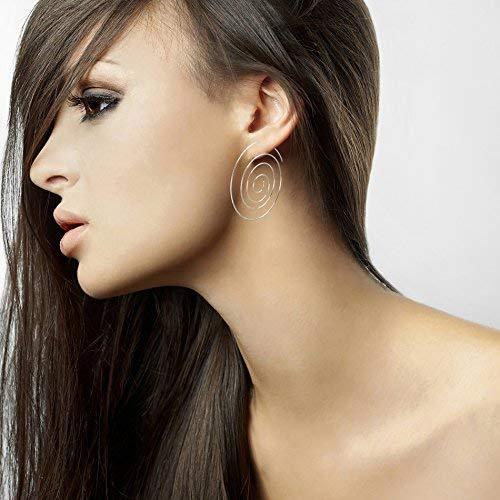 Lesa Michele Multi Circle Swirl Threader Hoop Earring
