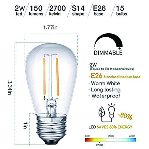 Svater 15 Pack S14 Replacement Bulb, Led 2W Dimmable Warm White 2700K E26 Base, Waterproof Clear Glass Edison Bulbs for… 2
