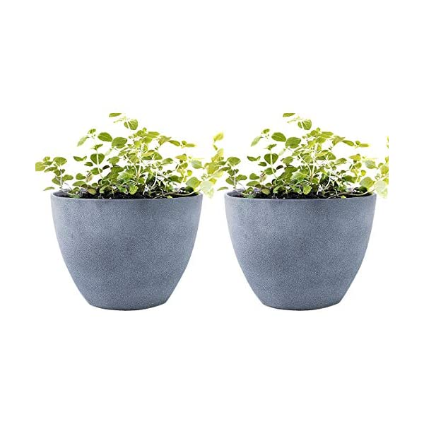 LA JOLIE MUSE Flower Pot Garden Planters Outdoor Indoor, Resin Plant Containers with Drain Hole, Grey(12 Inch, Pack 2)