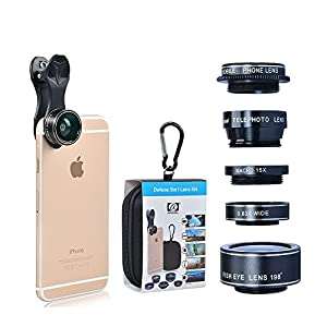For iPhone Lens, 0.4X Wide Angle Lens + 180°Fisheye Lens & 10X Macro Lens, Clip on Cell Phone Lens for iPhone Camera Lens for iPhone 7 Plus, 8, 7, 6s, Samsung & Smartphones