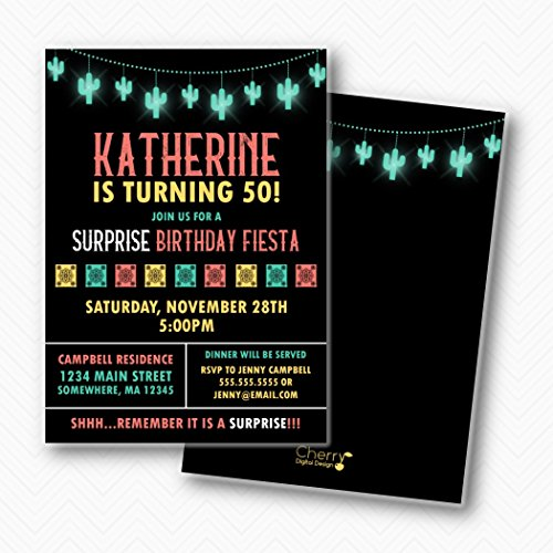 Fiesta Surprise Birthday Party Printed Invitations | Envelopes Included