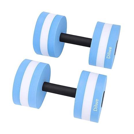 4d5e1962c36 Dilwe Fitness Dumbbell, 1 Pair Foam Heavy Resistance Barbells Pool Barbell  Float Aqua Exercises Equipment