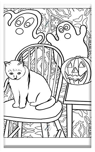 Single-Gang Blank Wall Plate Cover - Cat Ghost Pumpkin Halloween Artwork Coloring -