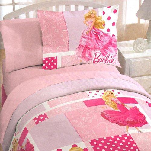 Barbie Pink Polka Dots 2pc Twin Quilt Pillow Sham Set