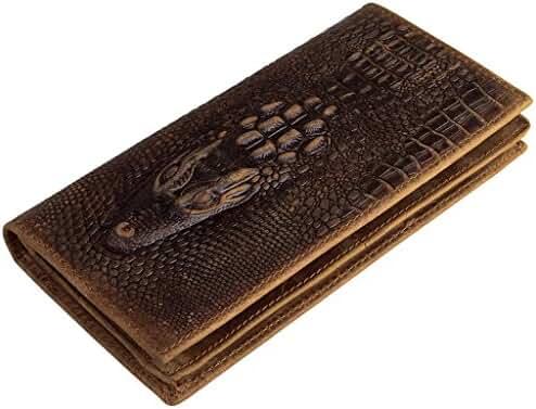Sellse Retro Crocodile Pattern Bi-fold Long Wallet Made from Cowhide