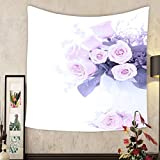 Lee S. Jones Custom tapestry pink fresh roses bouquet border composition isolated on white background symbol of love