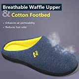 RockDove Men's Two-Tone Memory Foam House Slippers Waffle Texture Warm Indoor Slip On Clogs for Home & Lounging (11-12 D(M) US, Navy Blue)