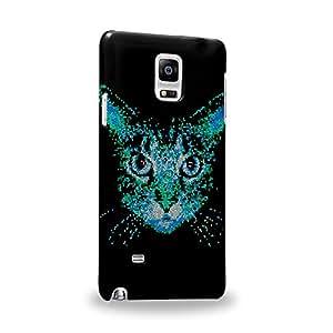 Case88 Premium Designs Art Collections Hand Drawing Animal Face Design Cat Face Blue Carcasa/Funda dura para el Samsung Galaxy Note 4