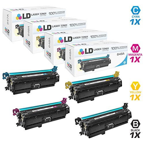 LD © Remanufactured Replacements for HP 647A / 648A Set of 4 Toner Cartridges (Black, Cyan, Magenta & Yellow) for use in Color LaserJet / Enterprise CP4025dn, CP4025n, CP4525dn, CP4525n, CP4525xh