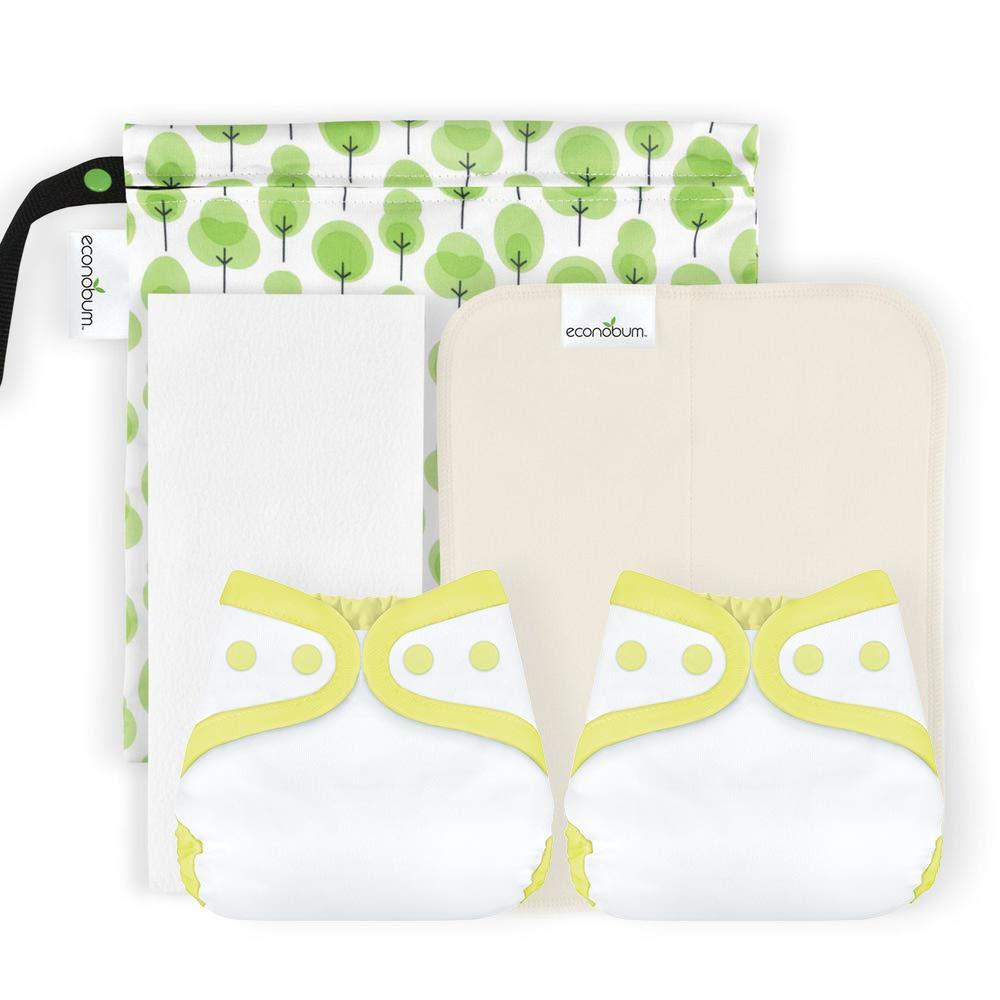 Econobum Newborn Starter Kit - 2 Newborn Covers, 6 Soft Organic Cotton Prefolds, 6 Newborn Stay-Dry Liners and 1 Wet Bag (Butternut) Cotton Babies