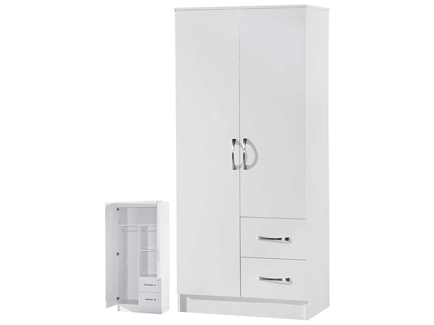 MARINA 2 DOOR DOUBLE COMBINATION WARDROBE ULTRA HIGH GLOSS QUALITY UNITS (WHITE GLOSS & WHITE ASH) by MARINA RANGE ARKFW