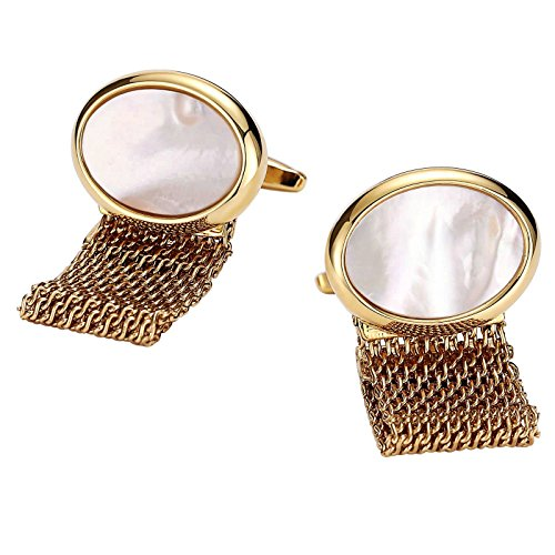 - Aooaz Mens Cufflinks Stainless Steel Oval Hollow Chain Gold White 2.2X1.7CM Dad Unique Jewelry Box Fancy Elegant