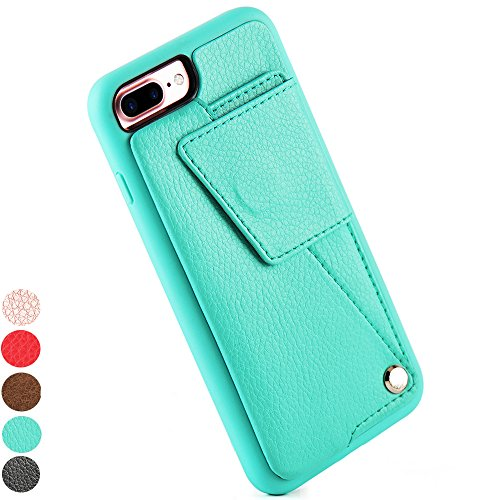 Iphone 7 Plus Wallet Case  Iphone 8 Plus Wallet Case  Zve Durable Protective Leather Case With Credit Card Holder For Apple Iphone 7 Plus  2016    Iphone 8 Plus  2017    Mint Green