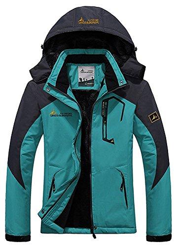 Century Star Women's Warm Mountain Waterproof Fleece Ski Jacket Windproof Rain Jacket Light Blue US L (Tag Size 2XL)