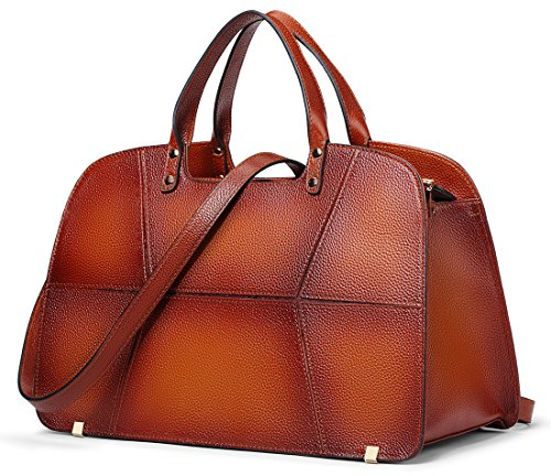 Coolcy Vintage Genuine Leather Handbags for Women Simple Tote Purses Bag (Vintage Genuine Leather)