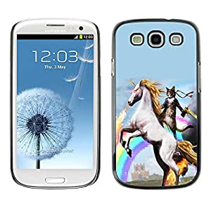 Stuss Case / Funda Carcasa protectora - Espacio Gato Riding Unicornio - Samsung Galaxy S3
