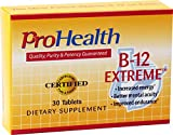 ProHealth B-12 Extreme (35 mg, 30 sublingual tablets) - High Potency Vitamin B12 Supplement | Methylcobalamin, Dibencozide, Cyanocobalamin, Hydroxocobalamin | Caffeine Free | Gluten Free | Vegan