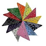 KurtzyTM Pack of 12 Colourful Patterned Paisley Cotton Bandanas, Neck Scarfs, Head Bands, Wrist Cuff