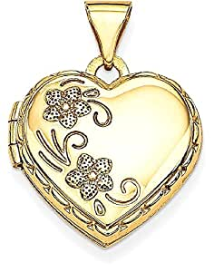 IceCarats 14k Yellow Gold Reversible Heart Locket Necklace That Holds Pictures