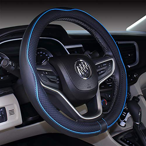 (2019 New Black Blue Microfiber Leather Steering Wheel Cover for F-150 Tundra Range Rover 15.5