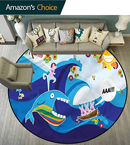 RUGSMAT Whale Modern Flannel Microfiber Round Area Rug,Whale Fish Rabbit Sun Protect Floors While Securing Rug Making Vacuuming - Odyssey Sun Pool