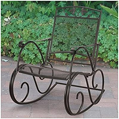 eb92a5d644924 Amazon.com   Decorative and Comfortable Wrough Iron Porch Rocking Chair
