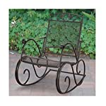 Decorative and Comfortable Wrough Iron Porch Rocking Chair, Extra-wide Seat for Comfort, Black Finish