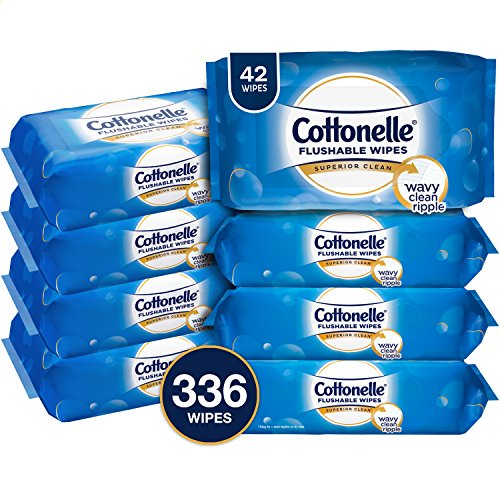 Cottonelle FreshCare Flushable Wipes, 336 Flushable Wet Wipes (Eight 42-Count Resealable Soft Packs) (Packaging May Vary), Lightly Scented