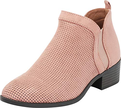 Women's Toe Block Perforated Imsu Select Side Closed Cambridge Dark Blush Bootie Stretch Cutout Chunky Ankle V Chelsea Heel 5t1cqSP