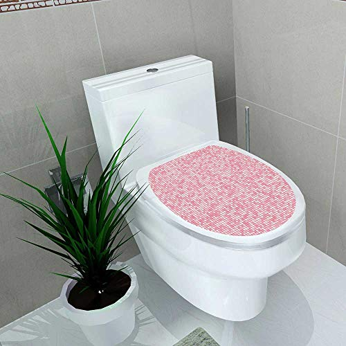 Auraise-home Bathroom Toilet seat Sticker Decal Pink and White Gingham Style Mosaic Tile in Pink Color Shades Modern Gridwith Small Squares Decal Sticker Vinyl W8 x L11