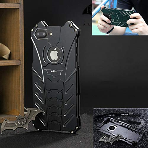Universal Apple iPhone 8 Case, iPhone 7 Case, (4.7 inch), R-JUST Luxury Batman Aluminum Shell Bumper Shockproof Tough Armor Metal Back Case Skin Protective Cover + Free Bat Kickstand