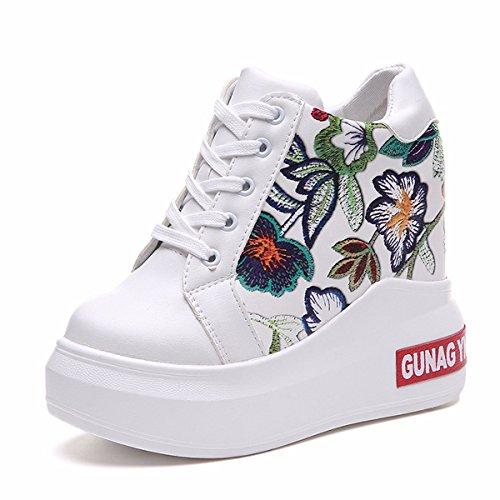 En Transpirable Altos Grueso Deportes Super de Moda Aumenta Primavera Casual Calzado Sandalias Dentro AJUNR 12cm white Elegante Joker Zapatos Tacones Fondo la Zapatos 1WFqSxIn