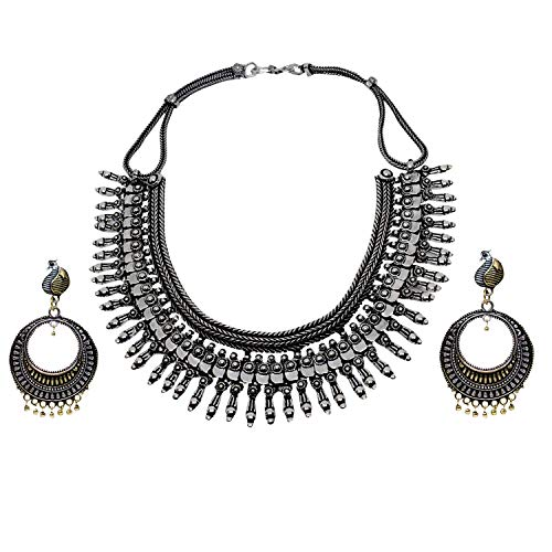 lery Oxidized German Silver Oxidized Metal Hasuli Necklace Set for Girls and Women ()