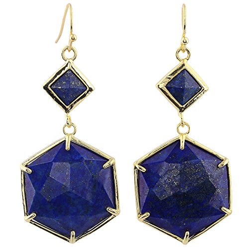 (SUNYIK Lapis Lazuli Faceted Octagon Dangle Earrings for Women,Gold Plated)
